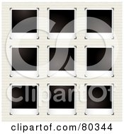 Nine Blank Polaroid Pictures With Corner Clasps On Ruled Pape