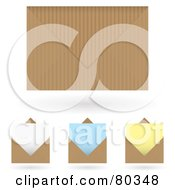 Royalty Free RF Clipart Illustration Of A Digital Collage Of Brown Envelopes And Colored Stationery Letter Papers by michaeltravers