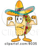 Clipart Picture Of A Taco Mascot Cartoon Character Flexing His Arm Muscles