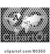 Royalty-Free (RF) Clipart Illustration of a Shiny Silver World Map On A Brushed Metal Grill Over Black by michaeltravers