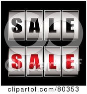 Royalty Free RF Clipart Illustration Of A Digital Collage Of Black And Red Sale Dials On Black by michaeltravers
