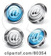 Digital Collage Of Four Shiny Blue And White Contact At Symbol Buttons