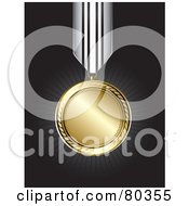 Royalty Free RF Clipart Illustration Of A Shiny Gold Medal On A Black Background With Rays by TA Images