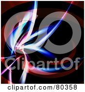 Royalty Free RF Clipart Illustration Of A Flare Of Light In A Spiraling Red Swoosh On Black by Arena Creative