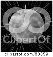 Royalty Free RF Clipart Illustration Of The Moon Over A Blurred Star Field Background On Black by Arena Creative