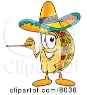 Clipart Picture Of A Taco Mascot Cartoon Character Holding A Pointer Stick by Toons4Biz