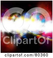 Royalty Free RF Clipart Illustration Of A Colorful Halftone Dot Background With A Bright Glowing Text Box