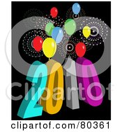 Royalty Free RF Clipart Illustration Of A Colorful 2010 Near Year Background With Fireworks And Balloons On Black by tdoes