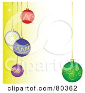 Royalty Free RF Clipart Illustration Of A Gradient Yellow To Beige Background With Colorful Suspended Christmas Balls by tdoes