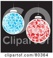 Red And Blue Snowflake Patterned Christmas Balls Over Black