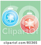 Red And Blue Snowflake Design Christmas Balls Over Green