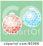 Red And Blue Snowflake Patterned Christmas Balls Over Green