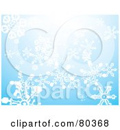 Bright Blue Winter Background Of Falling Snowflakes