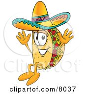 Clipart Picture Of A Taco Mascot Cartoon Character Jumping by Toons4Biz