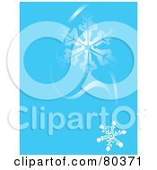 Blue Winter Background Of Falling Snowflakes And Wind