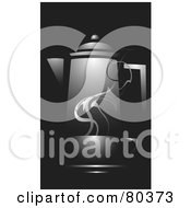 Royalty Free RF Stock Illustration Of A Black Cup Of Steamy Coffee On A Saucer In Front Of A Carafe On Black by xunantunich