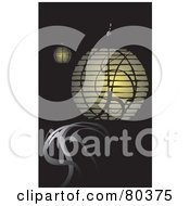 Royalty Free RF Stock Illustration Of Illuminated Japanese Hanging Lanterns And Smoke On Black