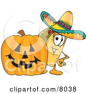 Taco Mascot Cartoon Character With A Carved Halloween Pumpkin