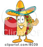 Clipart Picture Of A Taco Mascot Cartoon Character Holding A Red Sales Price Tag by Toons4Biz