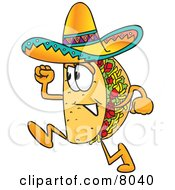 Clipart Picture Of A Taco Mascot Cartoon Character Running