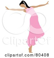 Royalty-Free (RF) Clipart Illustration of a Graceful Ballerina Dancing In A Pink Skirt by Pams Clipart #COLLC80408-0007