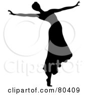 Royalty Free RF Clipart Illustration Of A Black Silhouette Of A Female Ballerina Wearing Her Hair In A Bun And Dancing In A Skirt
