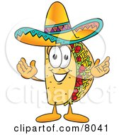 Clipart Picture Of A Taco Mascot Cartoon Character With Welcoming Open Arms by Toons4Biz #COLLC8041-0015