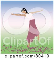 Royalty Free RF Clipart Illustration Of A Graceful Ballerina Dancing In A Pink Skirt Over Flowers On A Gradient Background by Pams Clipart