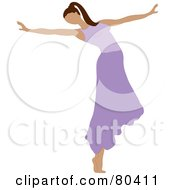 Royalty Free RF Clipart Illustration Of A Graceful Ballerina Dancing In A Purple Skirt