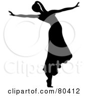Royalty Free RF Clipart Illustration Of A Black Silhouette Of A Female Ballerina Wearing Her Hair In A Pony Tail And Dancing In A Skirt