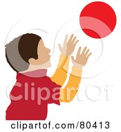 Royalty Free RF Clipart Illustration Of A Caucasian Boy Catching A Ball