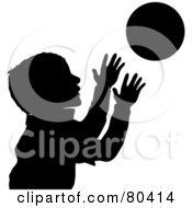 Royalty Free RF Clipart Illustration Of A Black Silhouette Of A Boy Catching A Ball