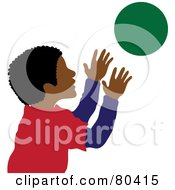 Royalty Free RF Clipart Illustration Of A Hispanic Boy Catching A Ball