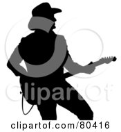 Royalty Free RF Clipart Illustration Of A Black Silhouette Of A Country Western Music Guitarist by Pams Clipart