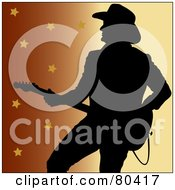 Royalty Free RF Clipart Illustration Of A Silhouette Of A Country Western Music Guitarist On A Gradient Star Background