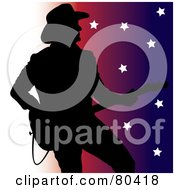 Royalty Free RF Clipart Illustration Of A Silhouette Of A Country Western Music Guitarist On A White To Colorful Star Background by Pams Clipart