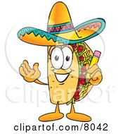 Clipart Picture Of A Taco Mascot Cartoon Character Holding A Pencil by Toons4Biz