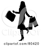 Royalty Free RF Clipart Illustration Of A Black Silhouette Of A Shopping Woman Kicking Up Her Heel And Carrying Bags