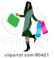Royalty Free RF Clipart Illustration Of A Hispanic Woman Kicking Up Her Heel And Carrying Bags