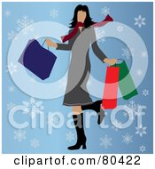 Royalty Free RF Clipart Illustration Of A Caucasian Woman Kicking Up Her Heel And Carrying Bags