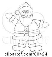 Royalty Free RF Clipart Illustration Of A Black And White Outline Of A Waving Friendly Fat Santa by Pams Clipart