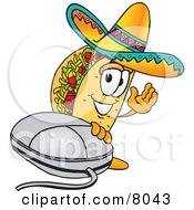 Clipart Picture Of A Taco Mascot Cartoon Character With A Computer Mouse by Toons4Biz