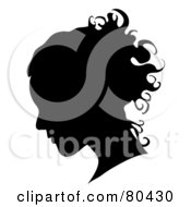Black Silhouette Of A Womans Profiled Face On White
