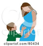 Royalty Free RF Clipart Illustration Of A Caucasian Boy Hugging His Pregnant Mom by Pams Clipart