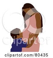 Royalty Free RF Clipart Illustration Of A Hispanic Boy Hugging His Pregnant Mom