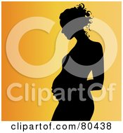 Royalty Free RF Clipart Illustration Of A Black And White Outline Of A Pregnant Woman In Profile Touching Her Stomach by Pams Clipart