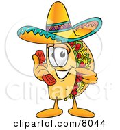 Clipart Picture Of A Taco Mascot Cartoon Character Holding A Telephone by Toons4Biz