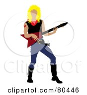 Royalty Free RF Clipart Illustration Of A Blond Rock Star Man With A Mullet Playing An Electric Guitar