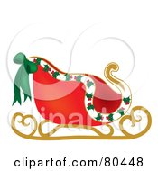 Royalty Free RF Clipart Illustration Of Santas Sleigh With Holly And A Bow