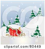 Royalty Free RF Clipart Illustration Of Santas Sleigh Near Evergreens On A Hill In The Snow